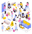 isometric cleaning icon set vector image vector image