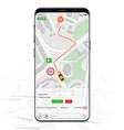 map gps navigation mockup screen vector image