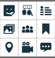 media icons set with bookmark dialog social page vector image vector image