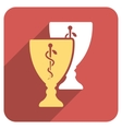 Medical Cups Flat Rounded Square Icon with Long vector image vector image
