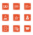 money data protection icons set grunge style vector image