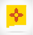 new mexico nm state map with flag vector image vector image