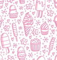 Pink ice cream seamless pattern vector image vector image