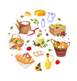 poster with healthy organic products round vector image vector image