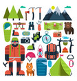 set flat icon mountaineering vector image vector image