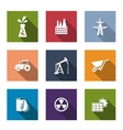 Set of flat industrial icons vector image vector image