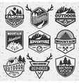 Set of monochrome outdoor camping adventure vector image vector image