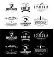 set vintage barber shop emblems and badges vector image vector image