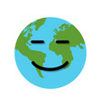 smile earth globe character vector image vector image