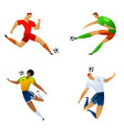 soccer player colored set vector image vector image