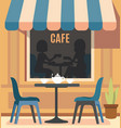 summer cafe and table with chairs vector image