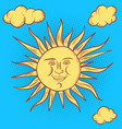 sun character round face stylized retro style vector image