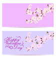 valentine s day sakura - two business cards vector image vector image