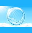 water bubble in sky reflecting sun beams vector image vector image