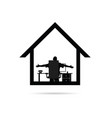 work from home with man silhouette sitting vector image vector image