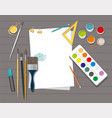 workspace paints brushes pencils pen paper vector image vector image