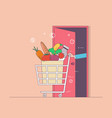 delivery foodfood in packagethin line colorful vector image