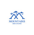 abstract blue mountains as m letter icon vector image