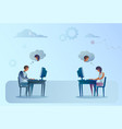 abstract business man and woman sitting at office vector image