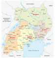 administrative and political map of uganda vector image vector image