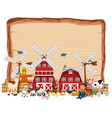 blank wooden board with animal farm isolated vector image