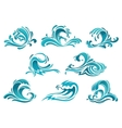 Blue sea waves and surf icons vector image