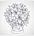 bouquet of flowers of lily and sakura vector image vector image