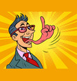 businessman tongue mouth gesture attention finger vector image vector image