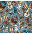 cartoon cute hand drawn winter season seamless vector image vector image