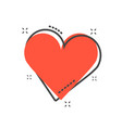 cartoon heart icon in comic style love sign vector image vector image