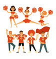 cheerleaders and sport club cheerleading fans vector image