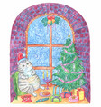 christmas and new year greeting card with cat vector image vector image