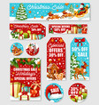 christmas sale tag discount label and shop card vector image vector image
