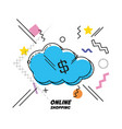 cloud computing shopping online icon vector image vector image