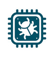 cpu icon with computer bug sign vector image vector image
