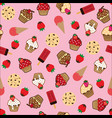 cupcake pattern pink background vector image