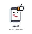 emotion phone thumb up like comment approval vector image