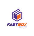 fast box expedition shipping logo symbol vector image