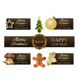 festive banner set for christmas and new year 2019 vector image
