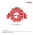 globe icon with plane - red ribbon banner vector image vector image