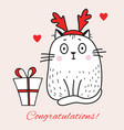 greeting card with a white cat with deer horns vector image vector image