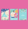 greeting cards with summer flowers and characters vector image