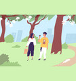 happy couple walking in green city park in summer vector image vector image