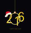 happy new 2016 year with red hat vector image vector image
