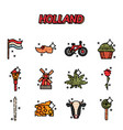 holland flat icons set vector image vector image