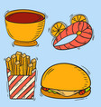 icons fast food hand drawn restaurant vector image vector image