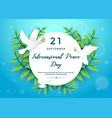 international peace day graphic element with vector image vector image