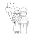 line old coupe people with glasses and hairstyle vector image