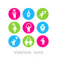love valentine icons vector image vector image