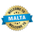 malta 3d gold badge with blue ribbon vector image vector image